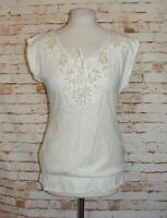Next SP summer top size 14 gold floral embroidery elastic hem cap sleeve cream