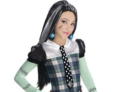 Frankie Stein Child Wig Black White Streaks Monster High Disguise Halloween