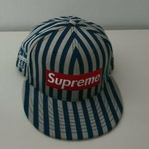 Very rare FW13 Supreme New Era 59Fifty Striped Box Logo hat navy cap size 7 3/8