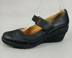Clarks Unstructured Ladies Mary Jane Wedge Shoes UK 6 D Black Leather Smart