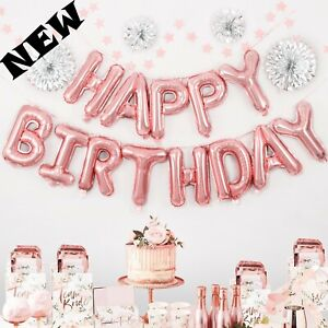 16inch Happy Birthday Decoration Gold Rose Foil Balloons Set Party Kids Supplies