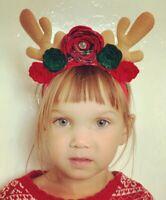 Reindeer Antlers Flower Green Red Tartan Bow Elastic Baby Headbands Christmas