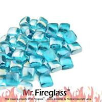 "Caribbean Blue 1"" Reflective Fire Glass Cubes with Fireplace and Fire Pit, 10 lb"