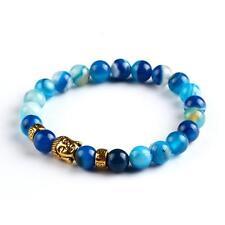 Buddha Meditation Prayer Bead Blue Stone Golden Buddha Stone Bracelet