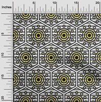 oneOone Popelina De Algodon Tela Raya, Hexagono Y Circulo Geometrico-tSG