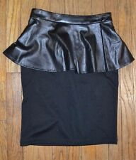Mossimo Black Faux Leather Ruffle Pencil Skirt Size 4