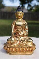 Brass Sakyamuni Buddha Hand Painted Face