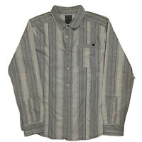 Prana Sz L Long Sleeve Button Up Mens Shirt Grey Blue