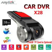 Anytek X28 FHD 1080P Car DVR Camera WiFi ADAS G-sensor Dashcam +16GB TF Card