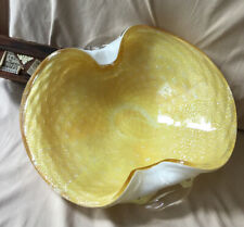 Vintage Murano Glass Bowl Yellow  Gold Control Bubbles 1960's Barbini
