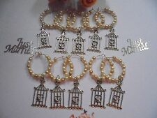 40 x Old Gold & Cream Wine Glass charms with birdcage --  Great Wedding Favour