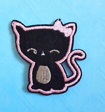 Cute Black Cat with a Bow Iron on / Sew on patch / Applique / Badge