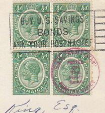 6242- BRITISH JAMAICA 1938 KGV BLOCK POSTED ON THE HIGH SEAS MIAMI SLOGAN CANCEL