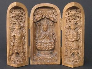 Extraordinaire Sculpture On Wood, Autel Gilt Triple Chinese