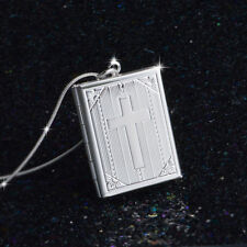 925 SILBER Jesus Medaillon zum öffnen Medallion mit Ketten Bibel Anhänger Kreuz