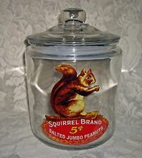 Vintage Style SQUIRREL BRAND SALTED PEANUTS Large GLASS COUNTER JAR ~Sealed Lid