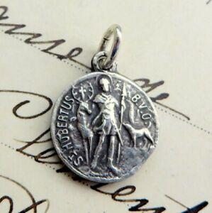 St Hubert / St Roch Medal - Sterling Silver Antique Replica