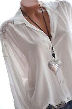 ITALY MODA Long Bluse mit Spitze am Rücken Tunika Hemd 44 46 48 Ecru Weiß NEU