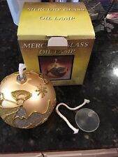 Gold Mercury Glass Christmas Ornament Oil Lamp /  Glittered Angel 4 1/2""