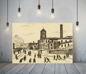 LOWRY STYLE A NORTHERN TOWN -FRAMED CANVAS WALL ART PICTURE PAPER PRINT- BLACK