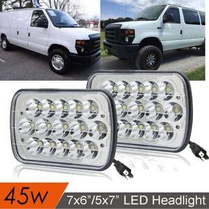 "For Ford E-150 E-250 E-350 H6054 7x6"" LED Headlight Sealed Beam Square Headlamp"