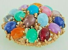Vintage Brooch 1970's Era Multi-Colored Oval Lucite Cabochons Gold Tone Setting