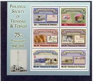 QEII Trinidad & Tabago mini stamp sheet Philatelic society dated 2017 UMM