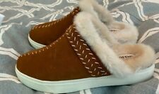 NWT Land's End Faux Fur Moccasin Slippers With Rubber Soles - 7.5
