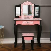 Vanity Dressing Makeup Table Set w/ Stool Drawer &Three-Fold Mirror Jewelry Desk