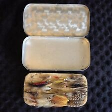 Vintage Fly Fishing 2 Sided Aluminum Box 12 compartments 30+ Flies included!