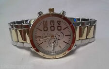 NEW Men's Geneva Chronograph Stainless Steel & Goldtone Watch + Free Battery, DS