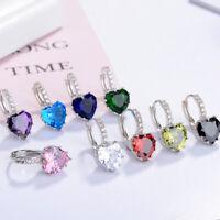 925 Sterling Silver Heart Crystal Hoop Huggie Earrings Women Fashion Jewelry