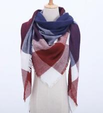 Fall Winter Plaid Acrylic Triangle Scarf - Navy Burgundy with White