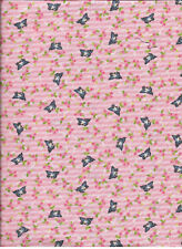 New Pink Kewpie Bird with flowers and stripe 100% cotton fabric by the 1/4 yard
