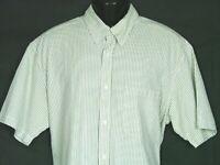 Orvis Short Sleeve Cotton Button Down Shirt Mens Sz L Green Striped Seersucker