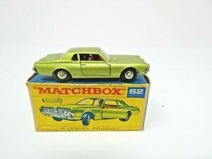 VINTAGE 1960's LESNEY MATCHBOX #62 MERCURY COUGAR IN ORIGINAL BOX. MINT!