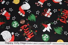 """HAPPY HOLLY DAYS"" 100% COTTON QUILT FABRIC BTY FOR SOUTH SEA IMPORTS 68050"