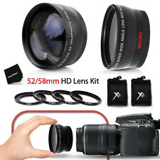 52/58mm Wide Angle + 2x Telephoto Lenses + Ring Adapters 46-58mm f/ Nikon D3200