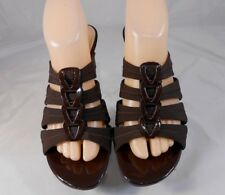East 5th Womens Strappy Pump Heels Sz 8 M Slip-On Fabric and Patent Brown