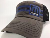 "Gray & Black Hat / Cap w/ Blue Mopar ""M"" Logo / Emblem w/ Black & Blue Stripe"