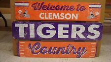 """CLEMSON TIGERS WELCOME TO TIGERS COUNTRY WOOD SIGN 19""""X30'' NEW WINCRAFT"""
