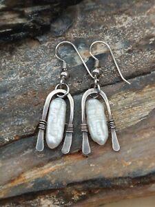 Southwestern Sterling Silver Pearl Modernist Dangle Earrings Fine Lot