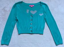 Betsey Johnson Vintage Crop Love Intarsia Cardigan Sweater, SM, Green & Silver