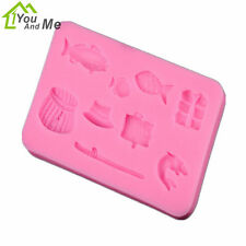 DIY Fishing Rod Series Fondant Mold Candy Silicone Mould Cake Baking Decor Tool