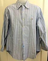 Polo Ralph Lauren Mens Blue & White Stripe Oxford Shirt Classic Fit 17 32/33