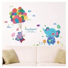 Flying Elephant Baloons removable wall stickers home decor nursery Baby