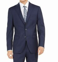 Tallia Mens Suit Jacket Blue Size 42 Slim Fit Solid Stretch Wool $250 #180