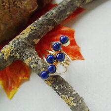 Lapislazuli, blau, rund, vergoldet, Design, Ring, Ø 18,0 mm, 925 Sterling Silber