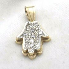Vintage 14k yellow gold HAMSA hand pendant Cubic Zirconia pave thick Judaica
