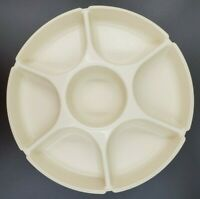 Vintage Tupperware 1665 Divided Veggie Fruit Snack Tray Server 2 Piece Almond